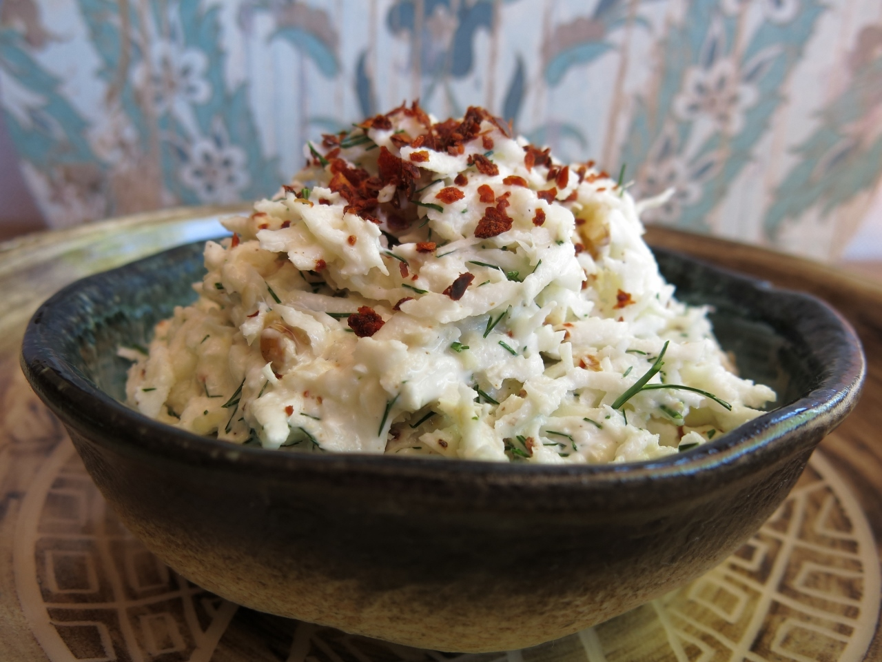 Raw Celeriac Salad with Walnuts and Dill