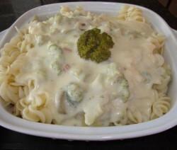 Macarrão ao molho de queijo e brócolis