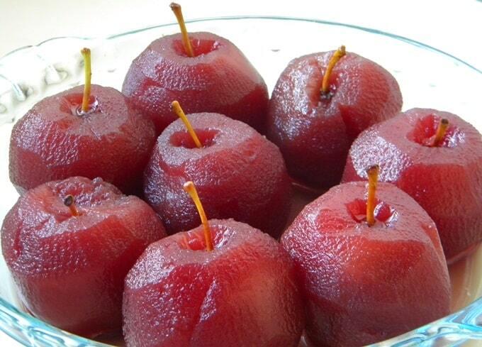 Sobremesa de Maçã Cozida com suco de Uva
