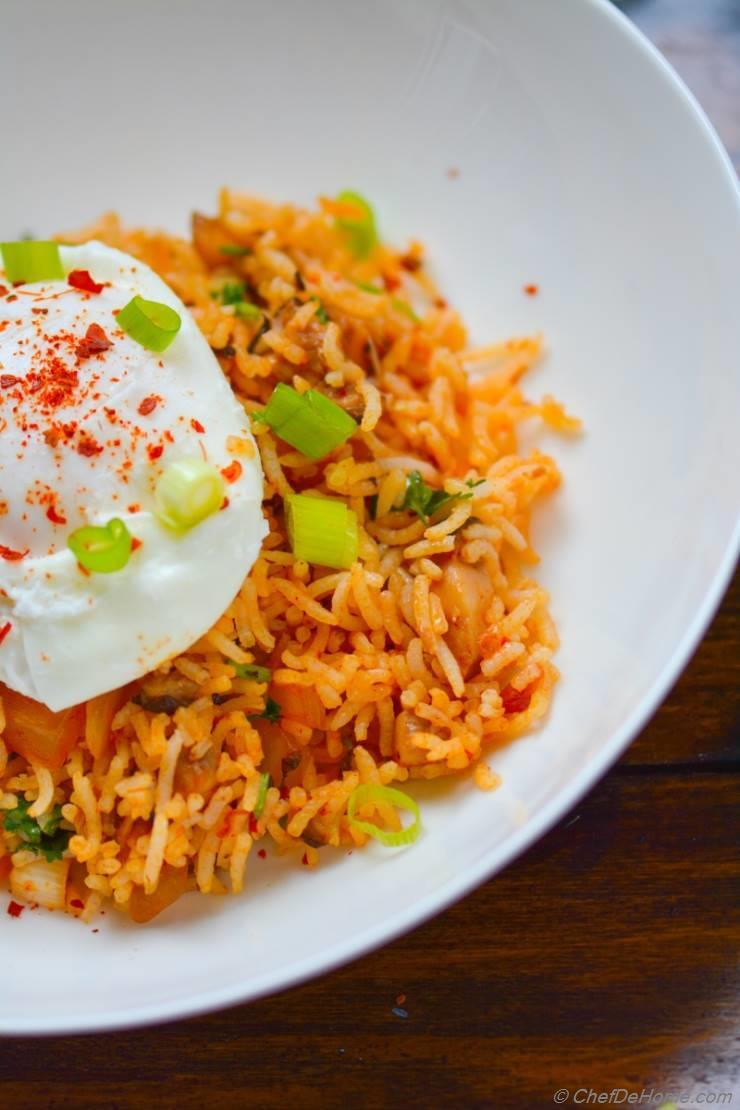 By ChefDeHome- Spicy Kimchi Fried Rice with Poached Egg