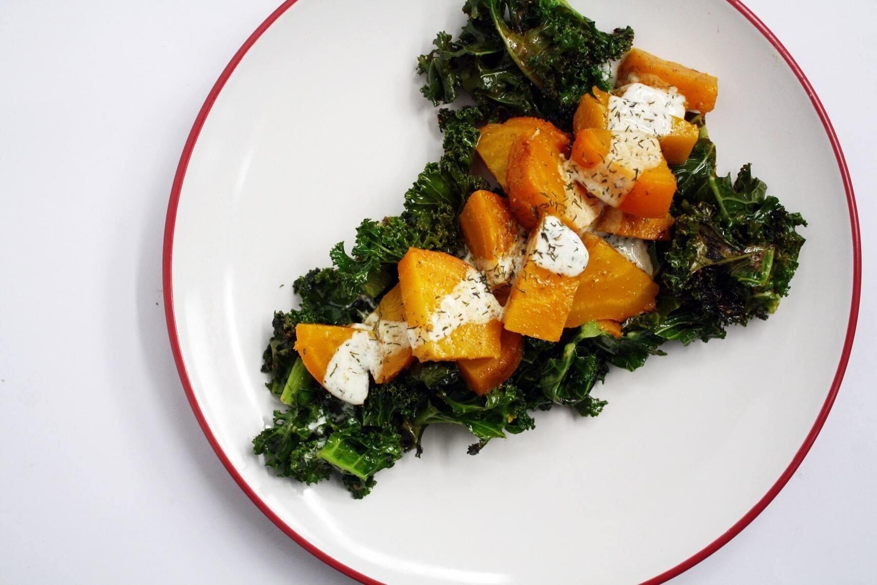 Ensalada Tibia de Kale y Betarragas Amarillas