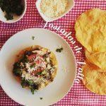 Tostadas de pollo y chile poblano
