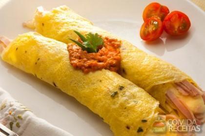 Receita de Canudo de omelete recheado com presunto, mussarela e catupiry