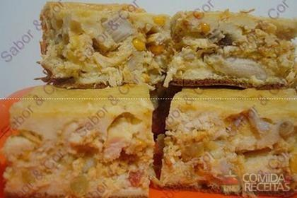 Receita de Torta cremosa de frango com palmito