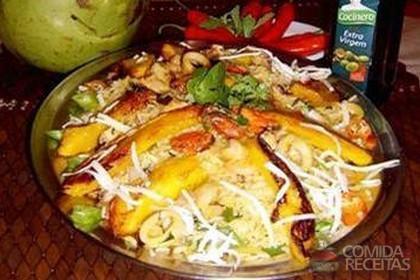 Receita de Risoto de frutos do mar com ervas e manga