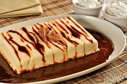 Receita de Pudim de chantilly com calda de chocolate