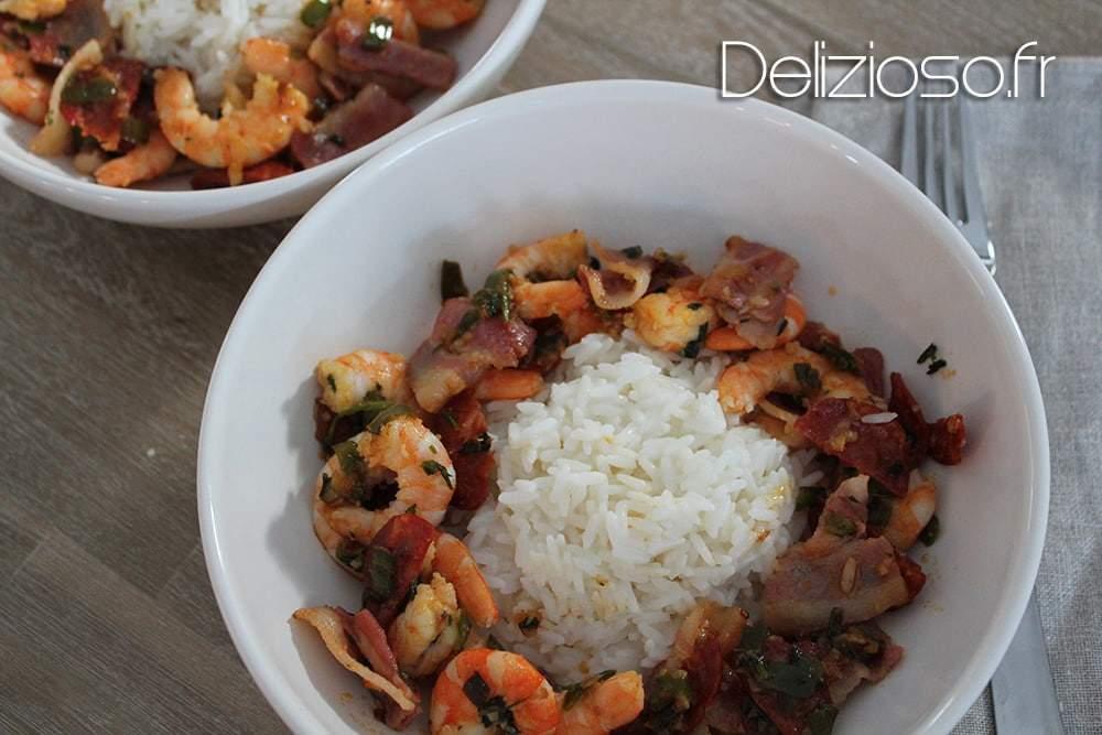 Crevettes à l'espagnole et riz crémeux