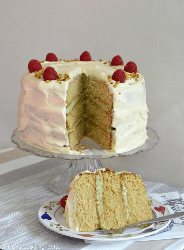 Layer cake au thé matcha et à la vanille