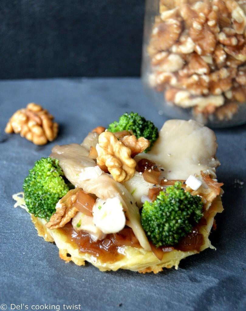 Tartes fines au Saint Marcelin, pleurotes, brocoli et vinaigrette tiède aux noix