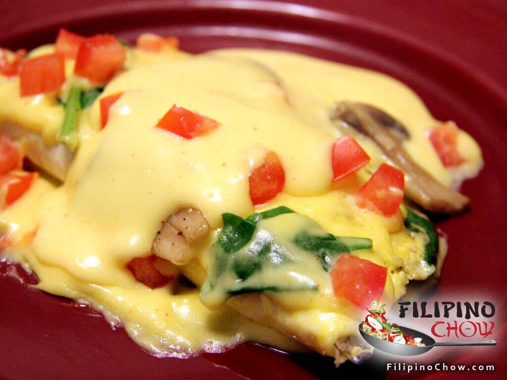 Spinach & Mushroom Omelette with Hollandaise Sauce