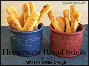 Homemade Bread Sticks made with Artisan Bread Dough