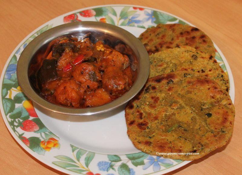 Mini Millet and wheat flour rotis with fenugreek