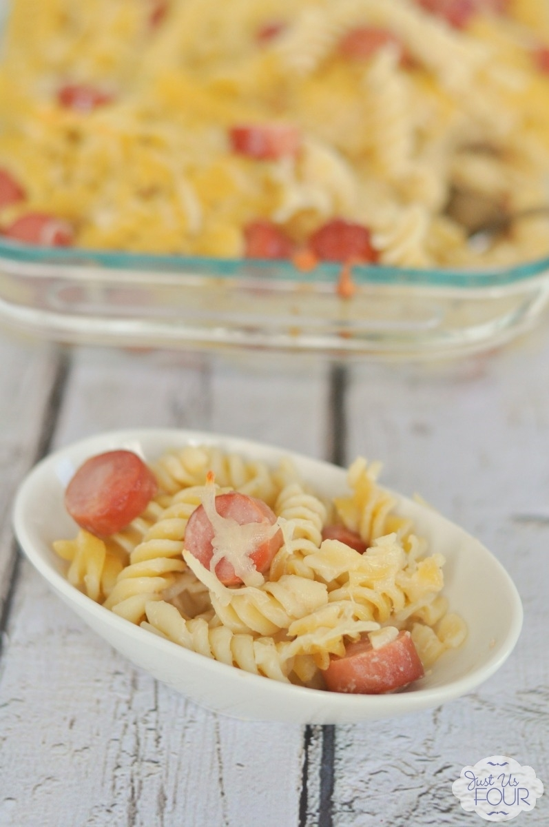 White Cheddar Macaroni and Cheese with Hot Dogs