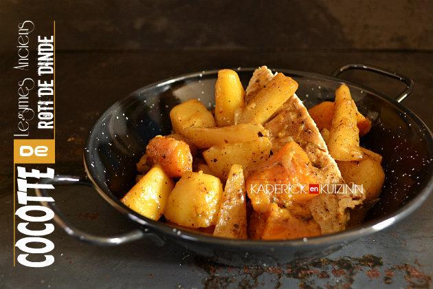 Cocotte de légumes – Recette de légumes anciens bio et rôti de dinde