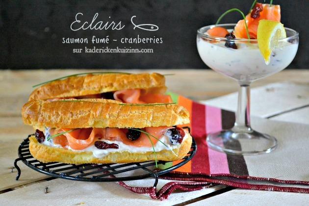 Recette choux – Éclair sucré-salé saumon fumé et cranberries