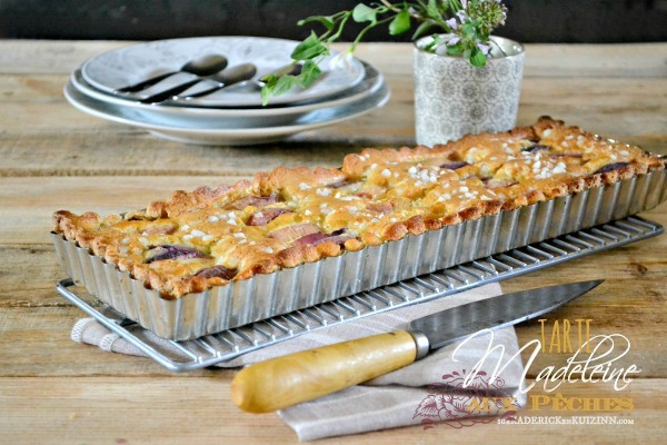 Tarte madeleine – Recette de tarte madeleine aux pêches bio