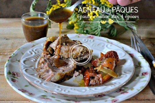 Agneau Paques – Rôti d'épaule d'agneau confit aux 4 épices