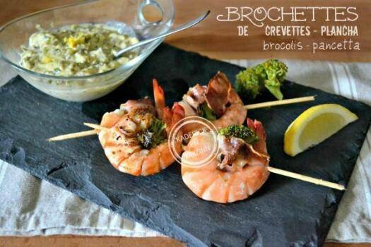 Crevettes – Plancha brochettes crevette brocolis sauce tartare