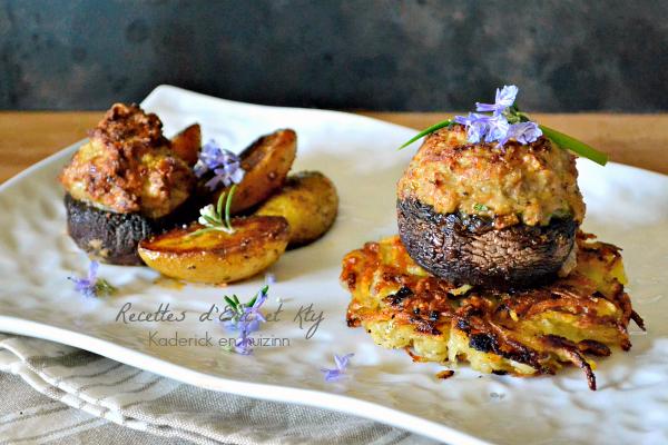 Champignons farcis veau jambon röstis à la plancha – Cuisine à thème