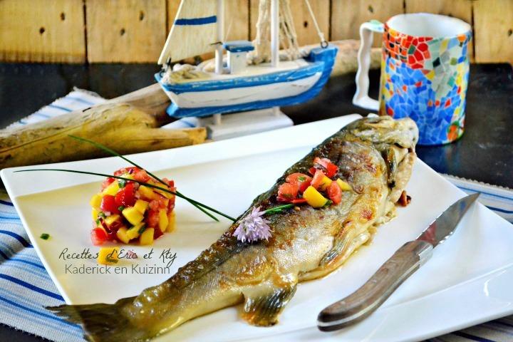Cuisson plancha : L'Omble chevalier entier et salsa à la mangue