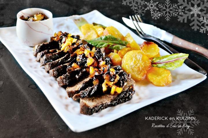 Magret de canard chutney d'ananas et fruits secs