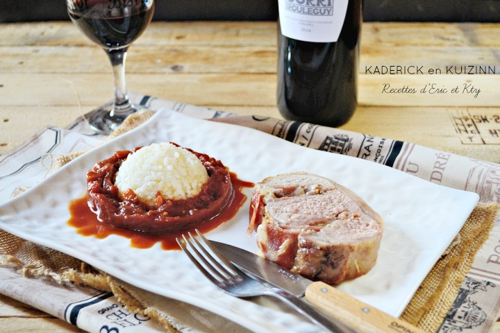 Rôti de porc basque Ossau Iraty jambon et piperade