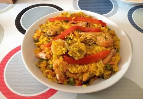 arroz con surtido de mariscos