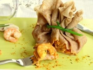 Aumônières de sarrasin aux crevettes épicées Bataille Food 13