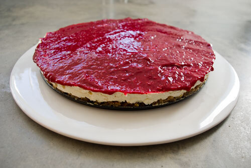 Stevia Cheesecake met Coulis van Frambozen