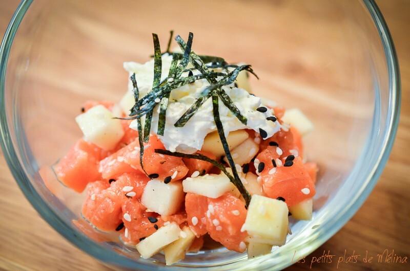Tartare de saumon, pomme grany, fromage frais, feuilles de nori