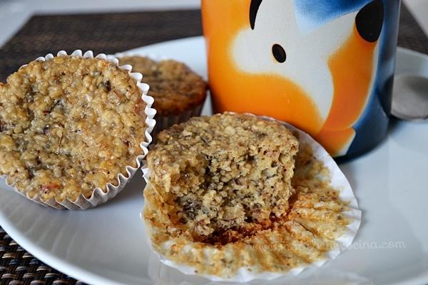 Muffins de avena con plátano, gluten free