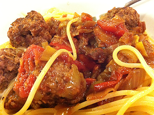 Venison meatballs and spaghetti