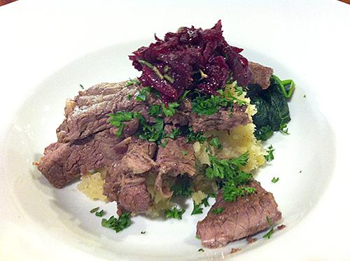 Rump steak on parsnip and kumara mash with beetroot salsa
