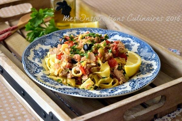 Pates au thon tomates et olives