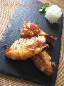 Alitas de pollo al horno con curry, miel y canela