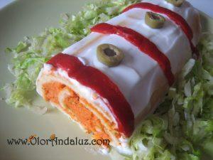 Brazo de gitano con pimientos rojos y surimi