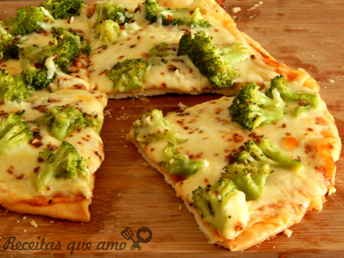 Receita de massa de pizza – brócolis com alho