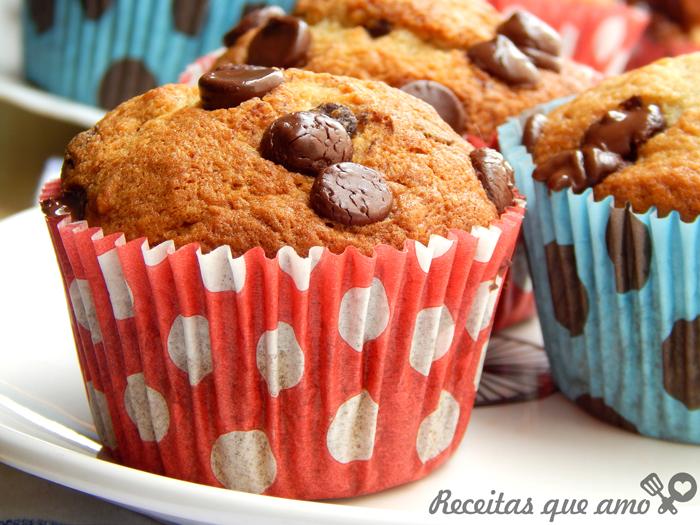 Muffin de banana com chocolate