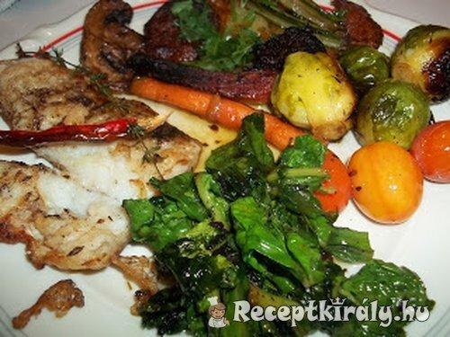 Grillezett pangasius édeskrumplival zöldségekkel