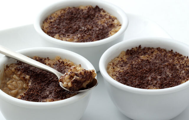 Arroz doce com chocolate para festa junina