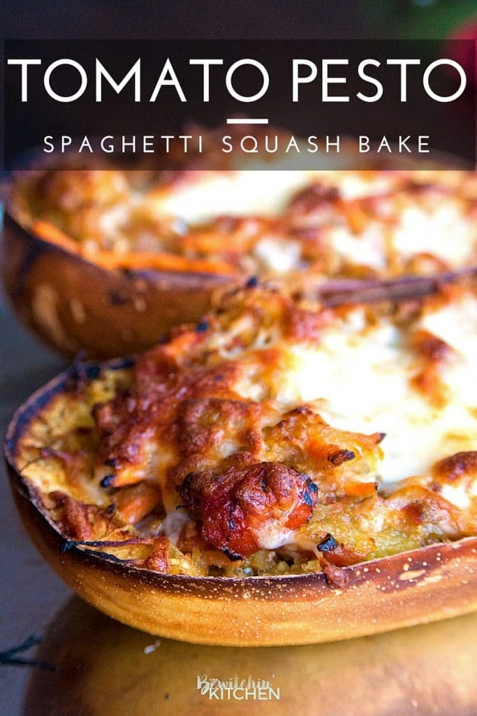 Tomato Pesto Spaghetti Squash Bake