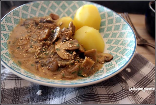 Recettes & Cabas : le seitan sauce moutarde et champignons et ses pommes vapeur