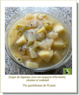 Soupe de légumes avec un soupçon d'exotisme, sésame wakamé
