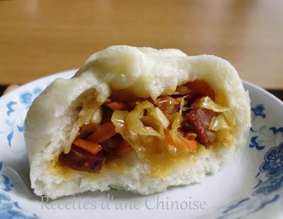 Baozi aux légumes et saucisse fumée de Sichuan 腊肠包子