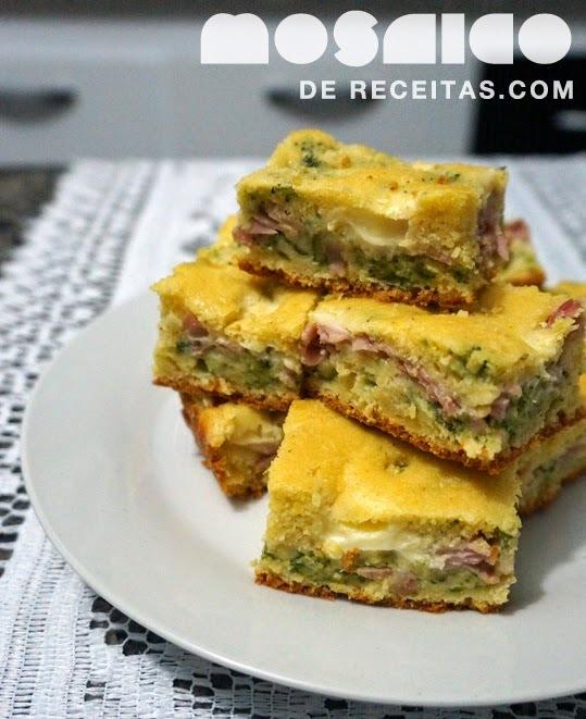 Torta de Milho com Presunto, Brócolis e Requeijão
