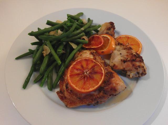 Pečené kura s červenými pomarančmi