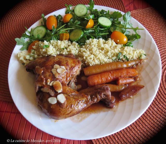 Cuisses de poulet au vin, aux dattes et à l'orange