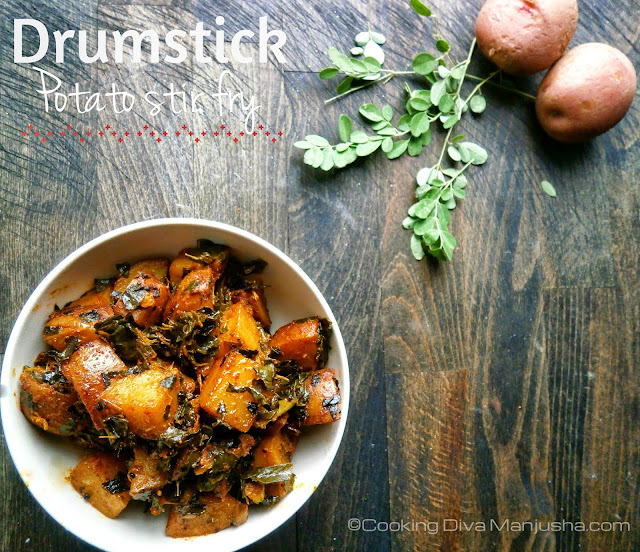 Drumstick leaves and Potato stir fry
