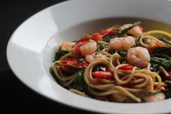spicy king prawn spaghetti with samphire.