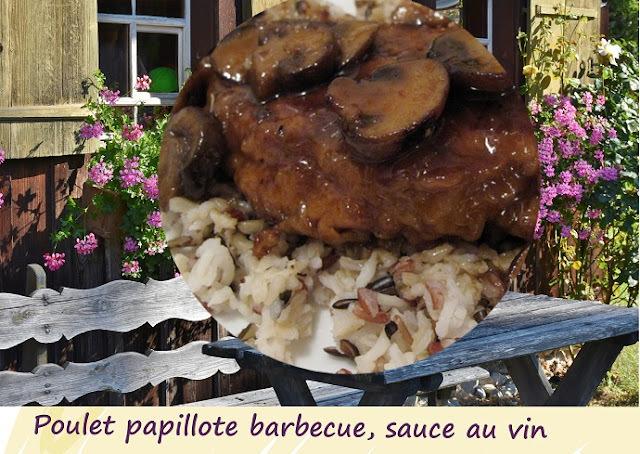 Recette de cuisses de poulet en papillotes au barbecue, sauce au vin